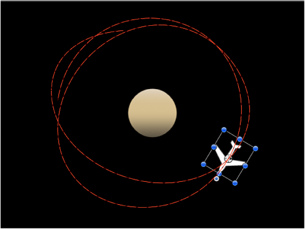 Canvas showing Orbit Around behavior combined with Random Motion behavior