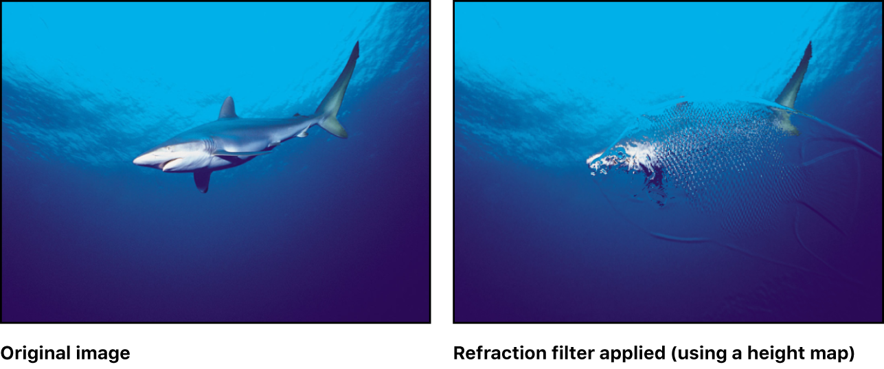 Canvas showing effect of Refraction filter