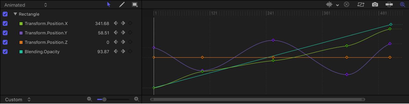 Timing pane showing Keyframe Editor