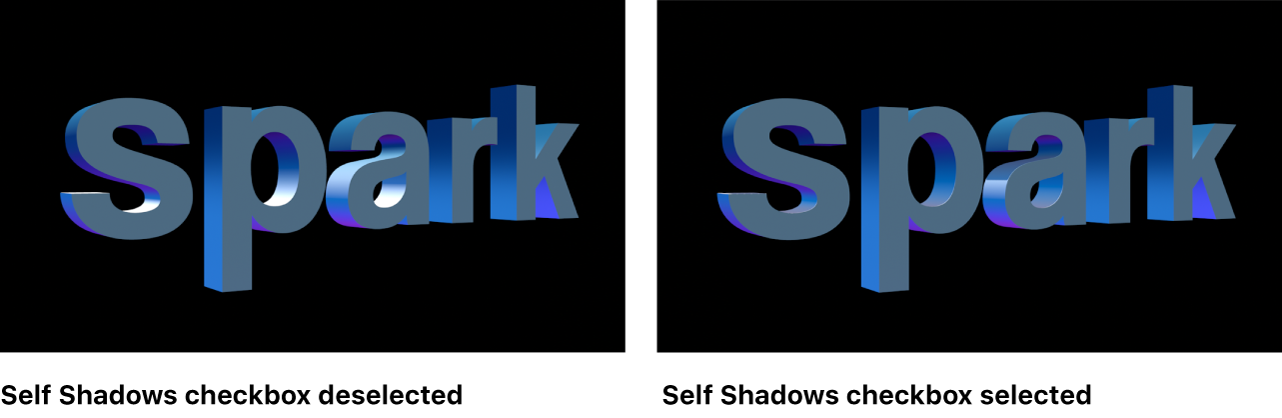 3D text in canvas showing the Self Shadows checkbox deselected and selected