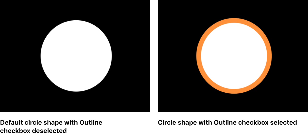 Canvas showing circle shape with and without Outline checkbox selected