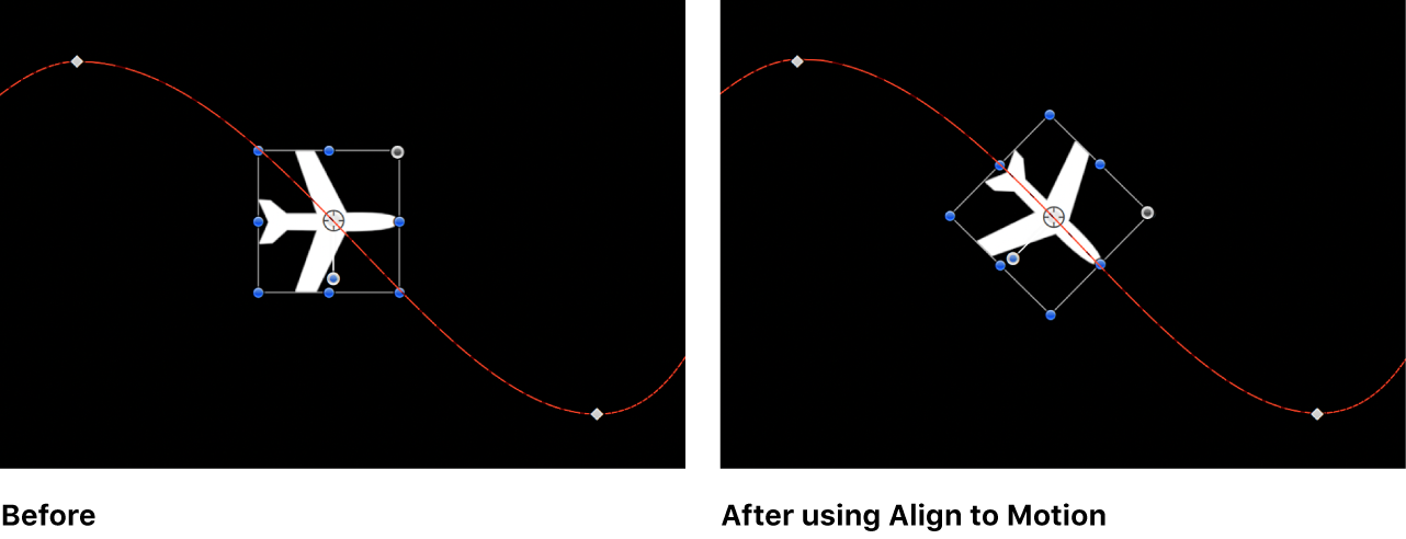 Canvas showing the effect of Align to Motion behavior