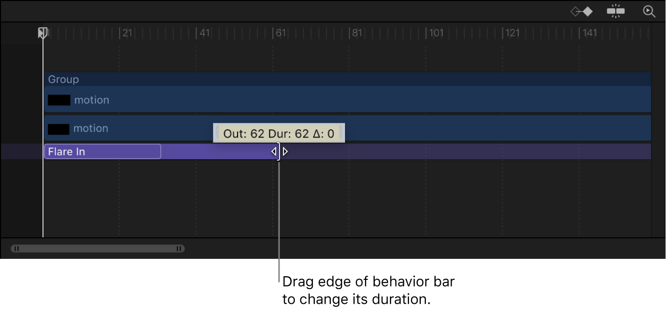 Timeline showing behavior being dragged to change its duration