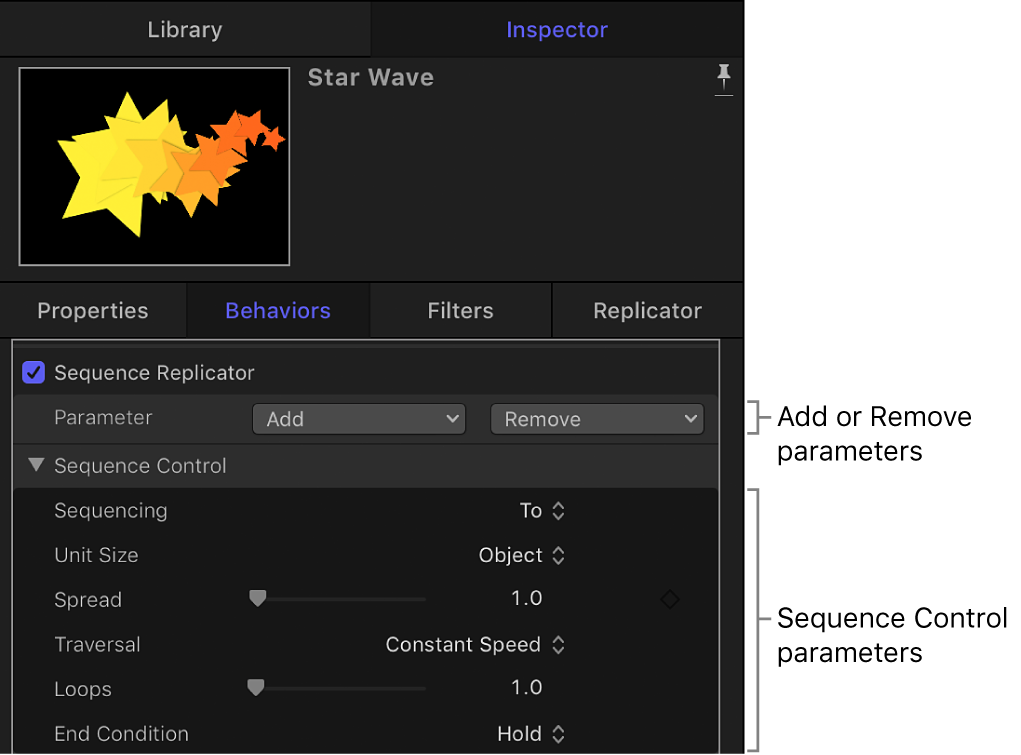 Inspector showing Sequence Replicator behavior parameters