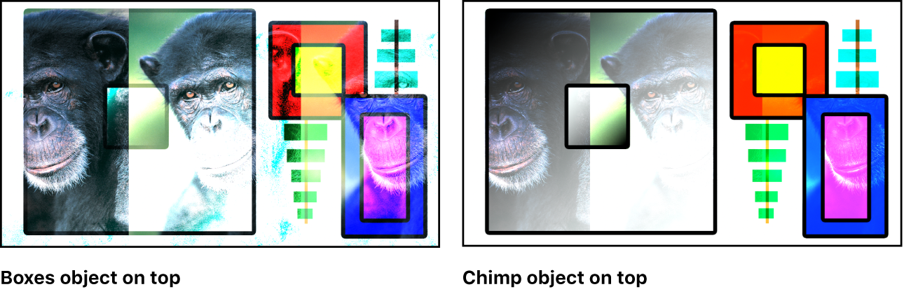 Canvas showing the boxes and the monkey blended using the Color Dodge mode