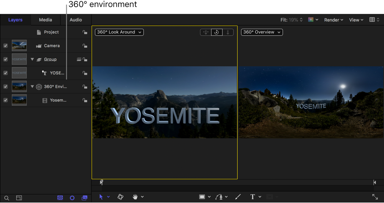 Project showing a 360° environment in the Layers list