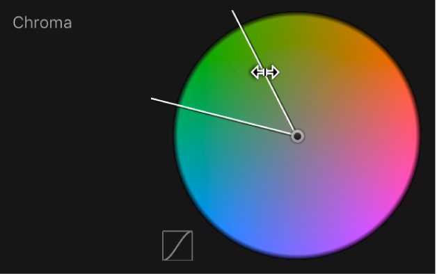 Dragging the outer edge of the Chroma control to adjust softness