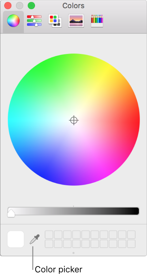 Color picker in macOS Colors window