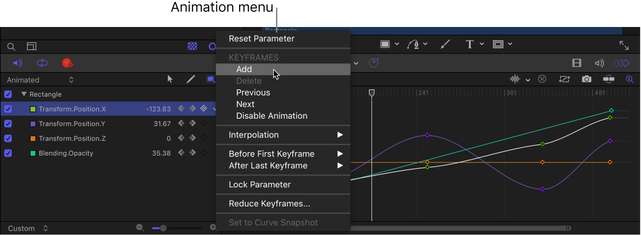 Keyframe Editor parameter list showing the Animation menu