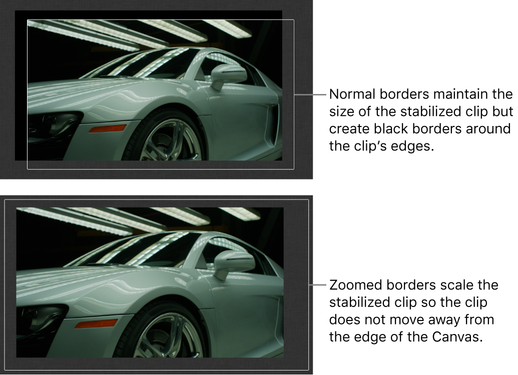 Canvas showing Stabilize behavior applied to a clip and Borders set to Normal; and Stabilize behavior applied to a clip and Borders set to Zoom