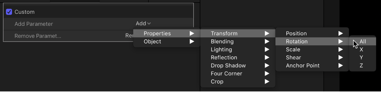 Behaviors Inspector showing parameter being added to the Custom behavior from Properties > Transform > Position submenu