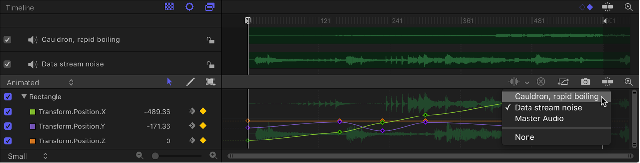 Waveform pop-up menu in the Keyframe Editor