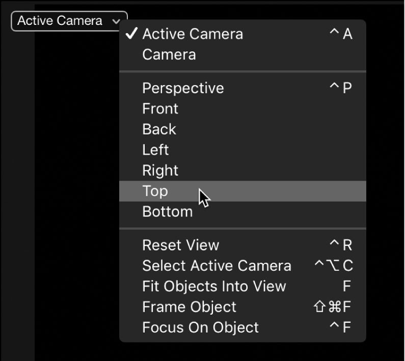 Canvas showing Camera menu
