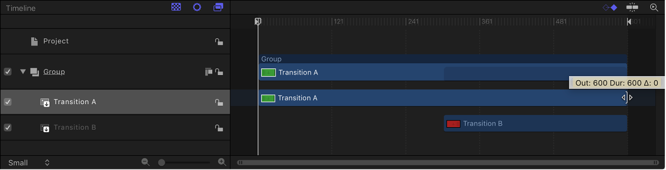 Dragging Transition A timebar in Timeline