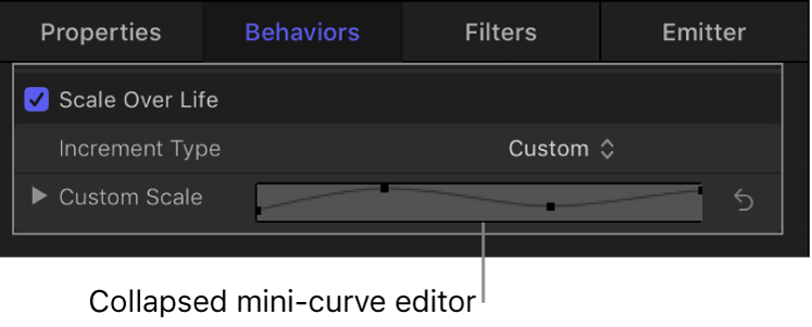Collapsed mini-curve editor in Inspector