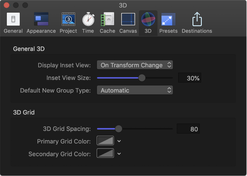Motion Preferences window showing 3D pane