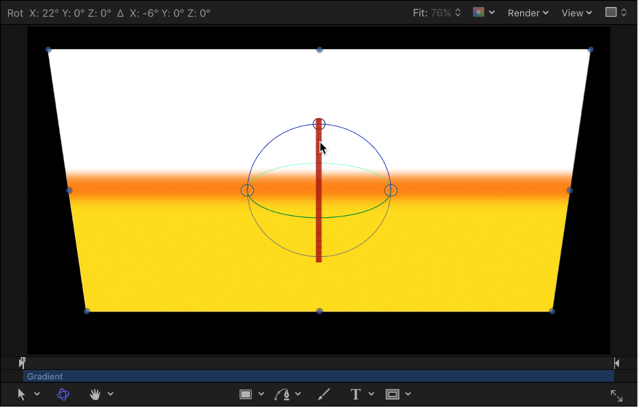 Canvas showing object rotating around X axis