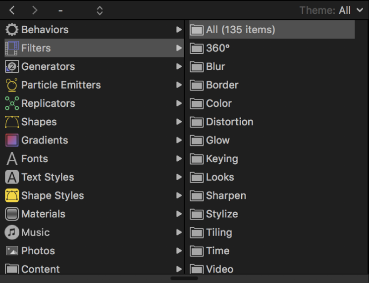 Filter categories in the Library