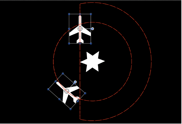 Canvas showing animation path when Clamp behavior is applied to one of the orbiting objects
