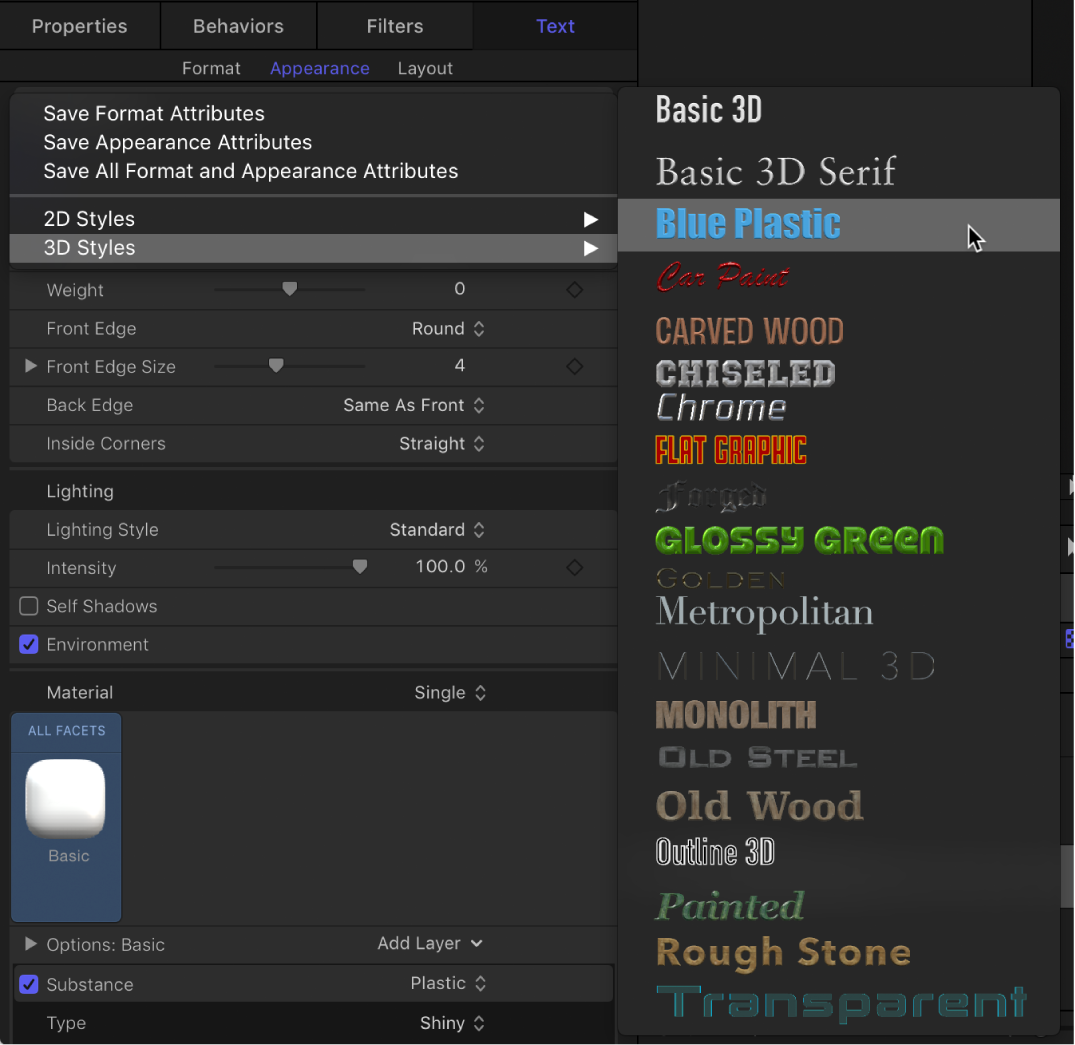 Inspector showing 3D Styles pop-up menu