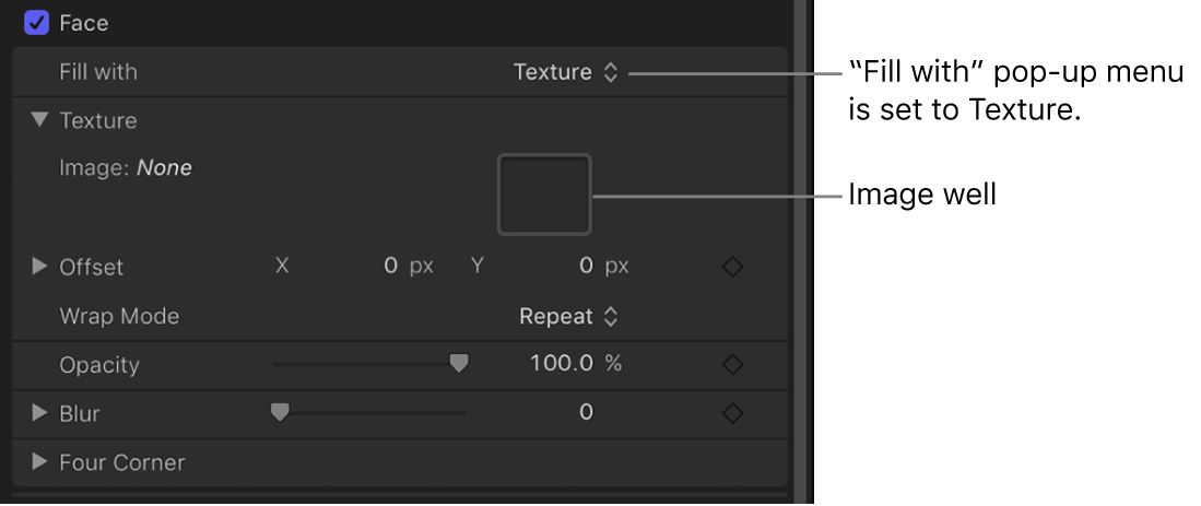 """Text Inspector with Text Face """"Fill with"""" parameter set to Texture, revealing image well"""