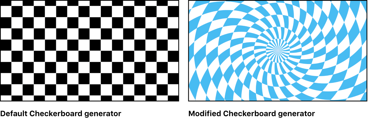 Canvas showing Checkerboard generator with a variety of settings