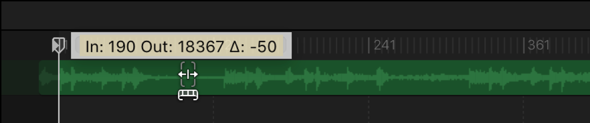 Slipping an audio track in the Audio Timeline