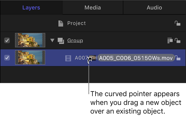 Layers list showing curved pointer used to exchange a layer