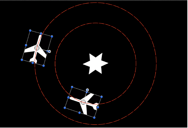 Canvas window showing animation paths for two objects, with Vortex behavior applied to a third object