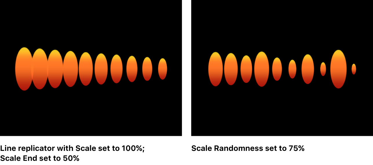 Canvas showing replicator with different Scale and Scale End values, and with Scale Randomness set to 75
