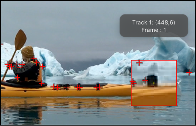 Canvas showing suggested tracking points