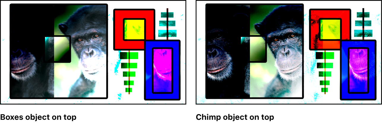 Canvas showing the boxes and the monkey blended using the Vivid Light mode
