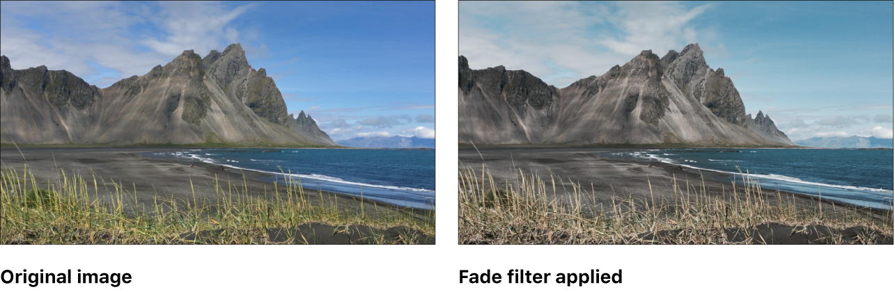 Canvas showing effect of Fade filter