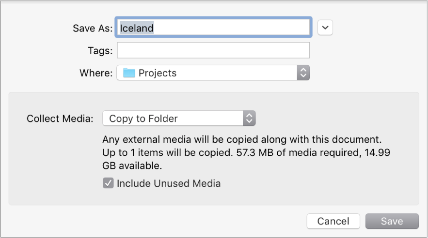 Save dialog showing Collect Media pop-up menu options
