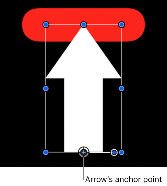 Canvas showing arrow aligned to red shape