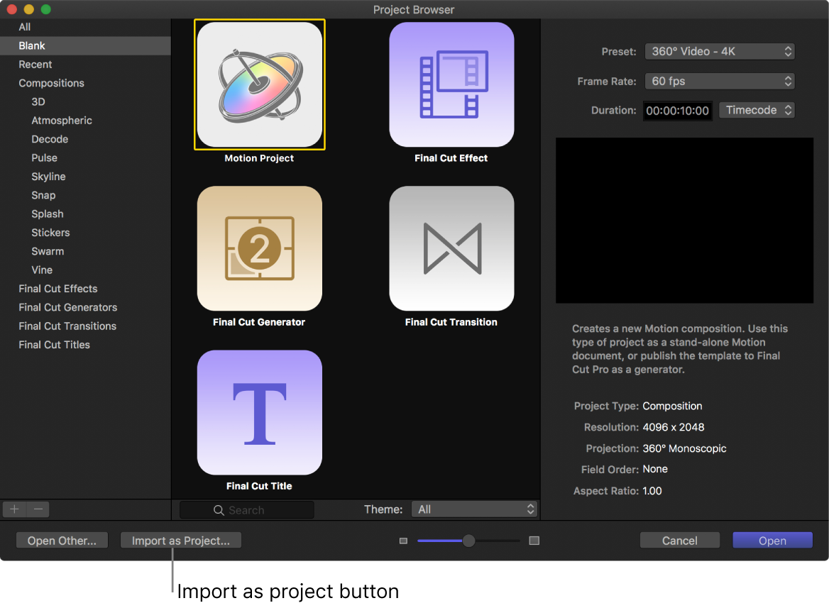 Import as project button in the Project Browser