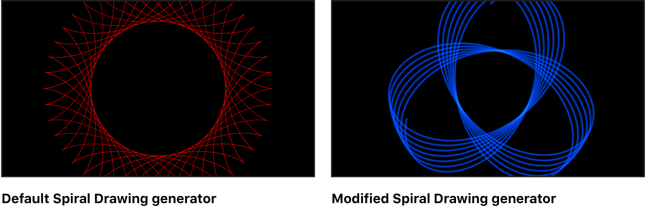 Canvas showing Spiral Drawing generator with a variety of settings
