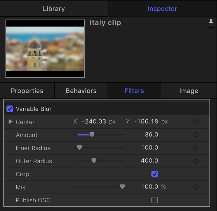 Filters Inspector