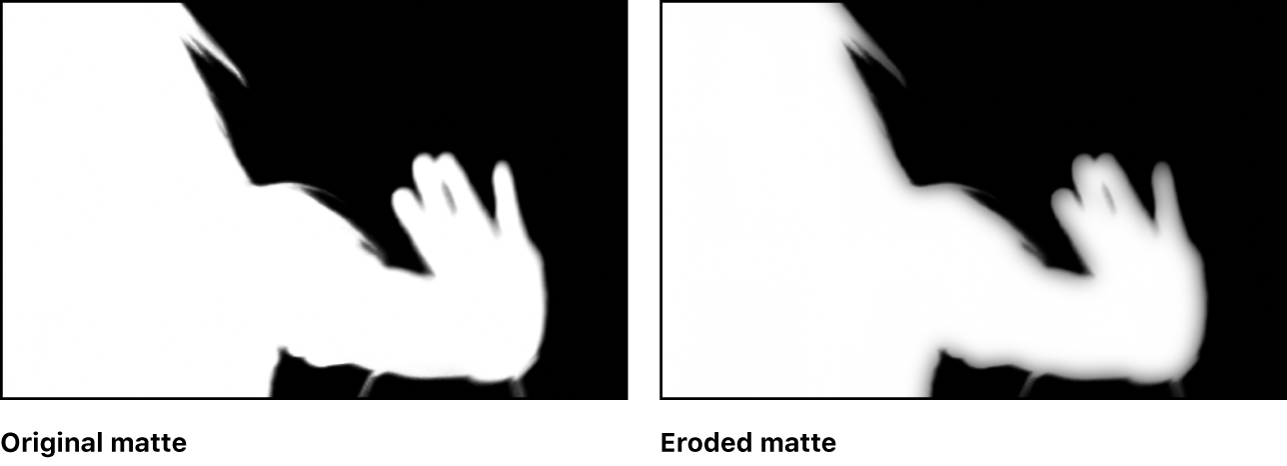 Original matte in the canvas, compared to the eroded version of the matte