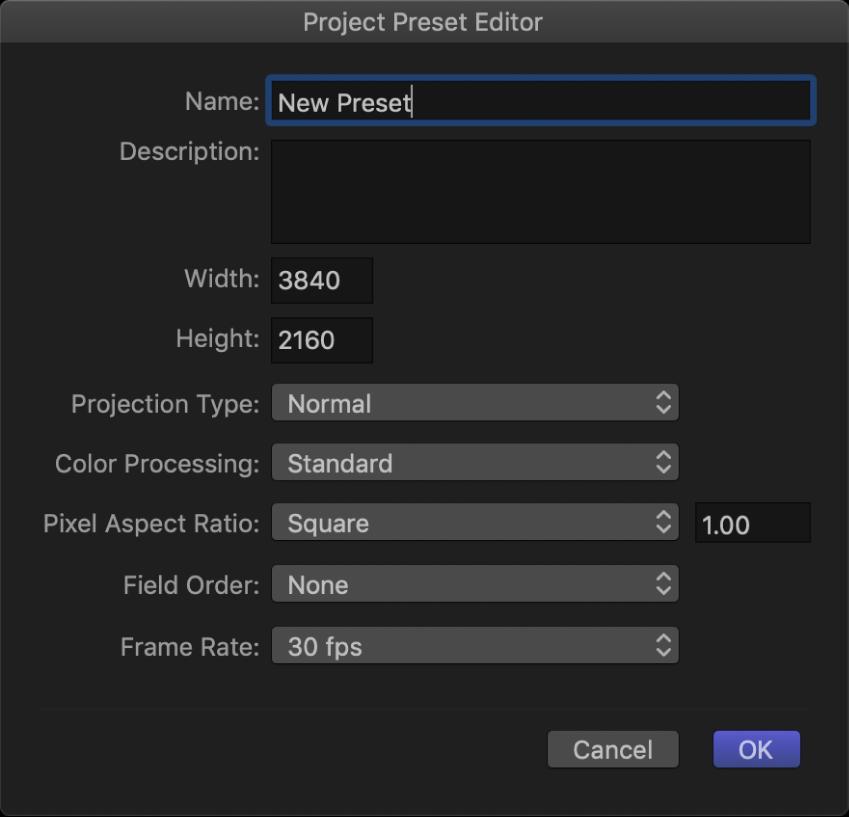 Project Preset Editor