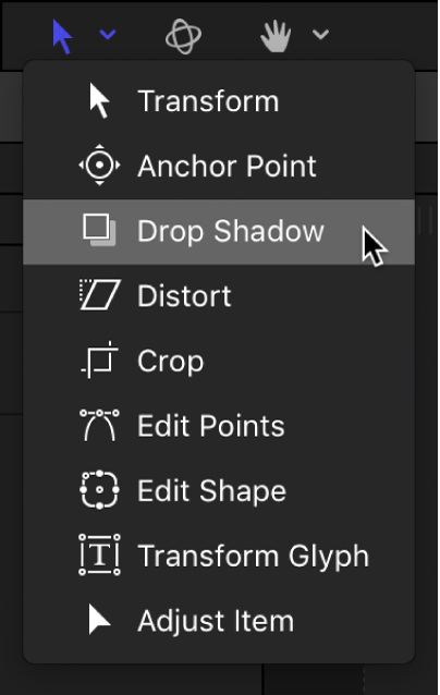 Selecting the Drop Shadow tool from the transform tools pop-up menu