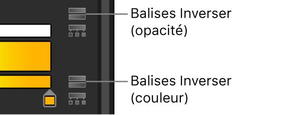Éditeur de dégradé affichant les icônes Inverser les balises pour l'opacité et la couleur
