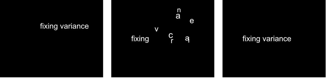 Canevas affichant le comportement Séquence de texte dont le réglage Fixe est défini sur Point d'arrivée