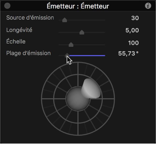 Palette affichant la commande d'émission3D avec une plage d'émission réduite