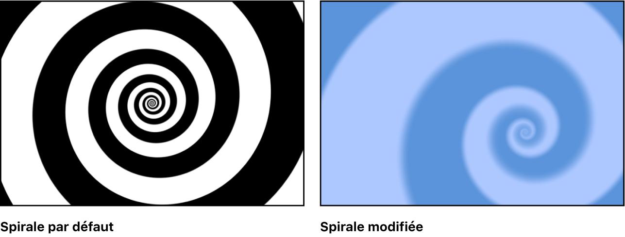 Canevas affichant le générateur Spirales avec un grand choix de réglages
