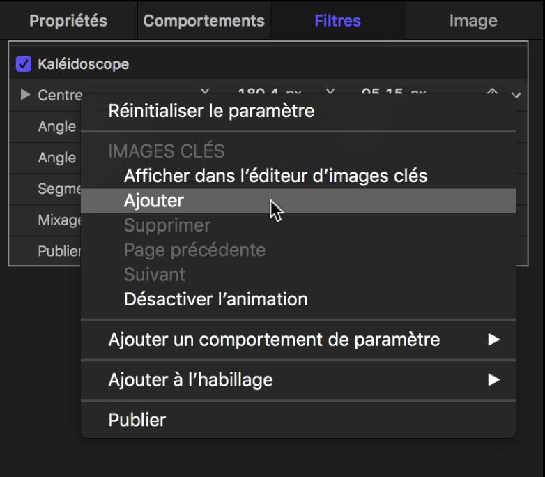 Choisir Ajouter dans le menu Animation pour un paramètre de filtre