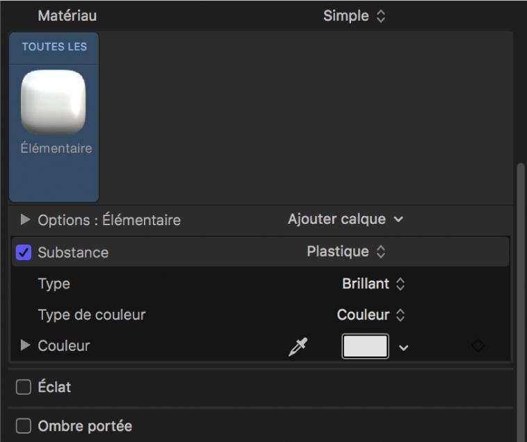 Inspecteur de texte3D affichant le matériau Blanc basique