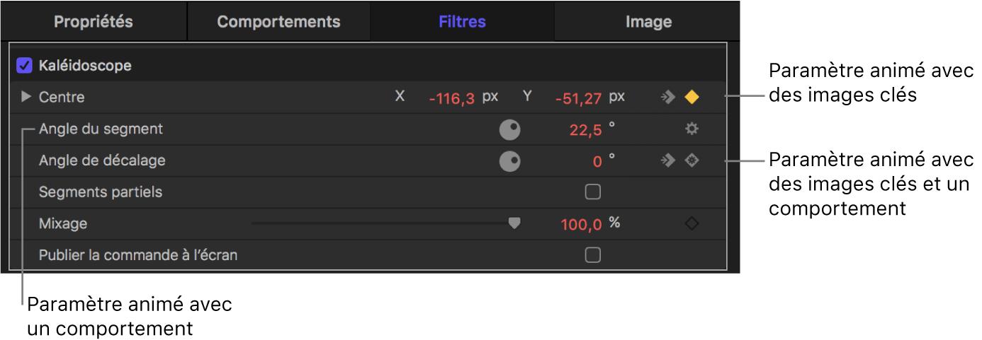 Inspector affichant un paramètre auquel des images clés sont appliquées, un paramètre auquel un comportement est appliqué, et un paramètre auquel des images clés et un comportement sont appliqués