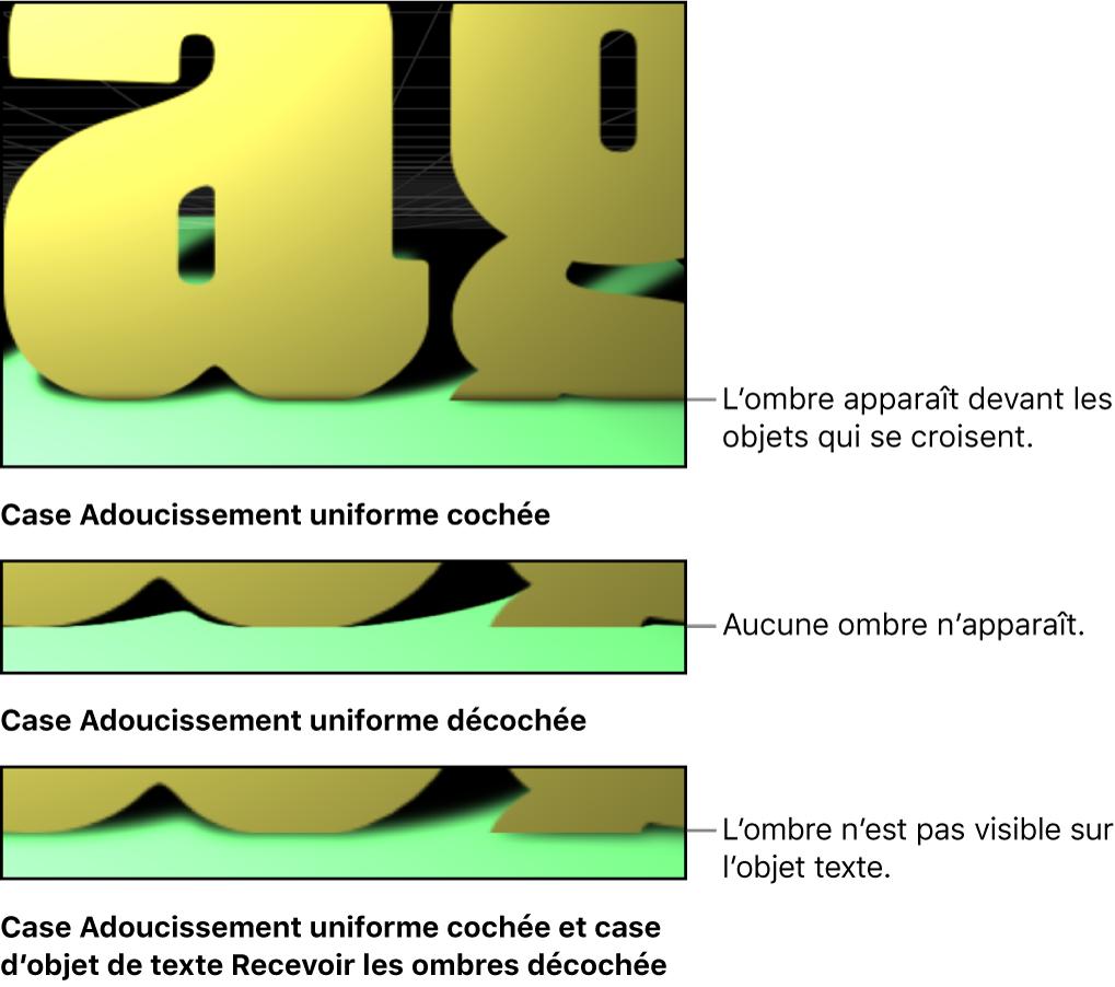 Canevas affichant l'intersection d'objets, l'un avec le réglage d'adoucissement uniforme activé, l'autre avec ce même réglage désactivé