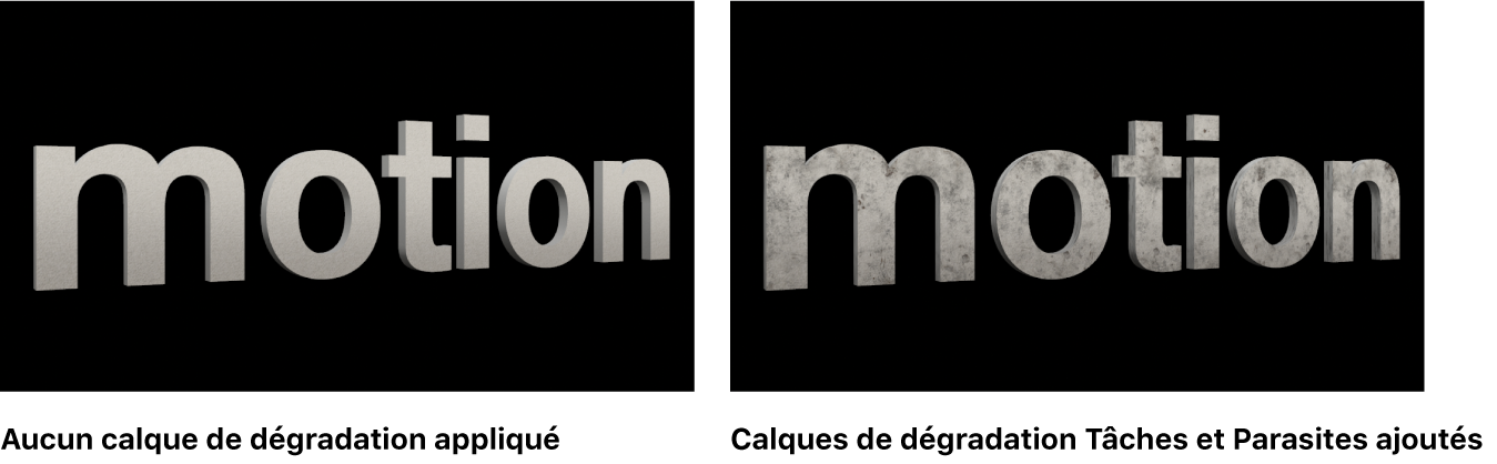 Texte3D dans le canevas sans aucun calque de déprédation appliqué et avec les calques de déprédation Taches et Poussière appliqués